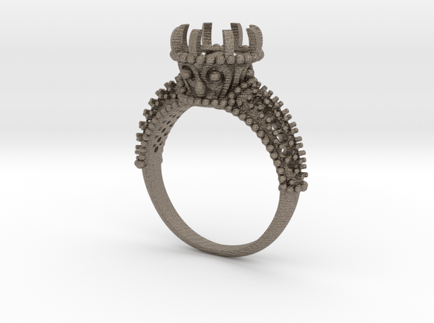 Indian Style Ring in Matte Bronzed-Silver Steel: 8 / 56.75