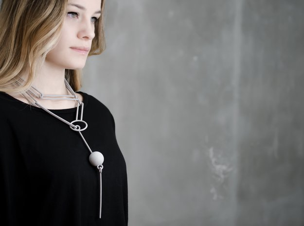 3d printed geometric necklace, wearable art in Gray PA12