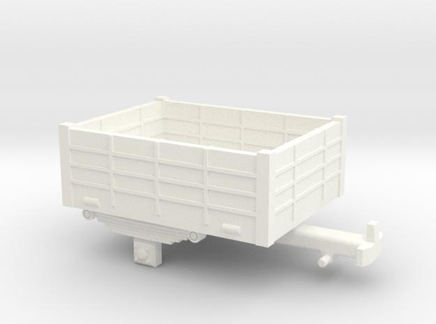 Single-axle H0e / 009 open trailer in White Processed Versatile Plastic