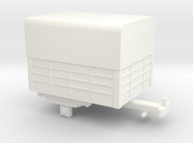 Single-axle H0e / 009 trailer in White Processed Versatile Plastic