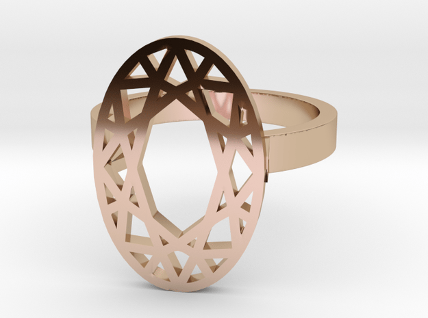 OVAL DIAMOND RING in 14k Rose Gold Plated Brass