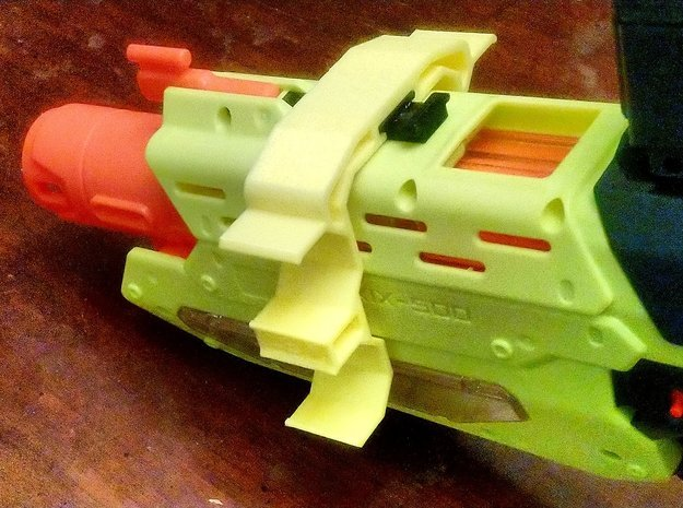 Double-Sided SpeedLoader Carrier for Nerf Mercury in Yellow Processed Versatile Plastic