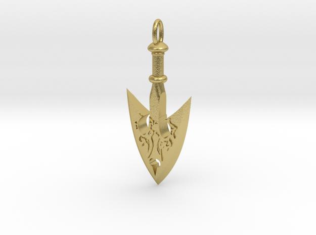 JoJo Arrow Pendant in Natural Brass