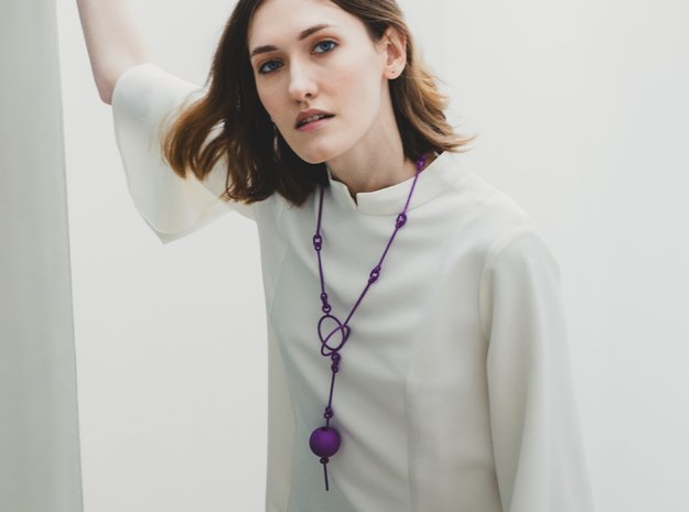 3d printed art inspired geometric necklace in Purple Processed Versatile Plastic