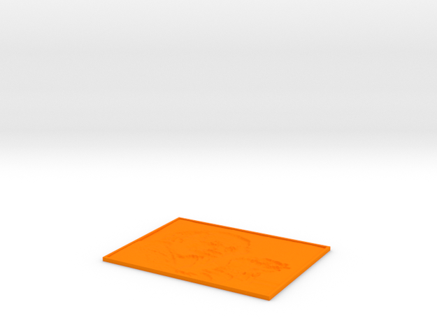Albert Einstein lithophane in Orange Processed Versatile Plastic