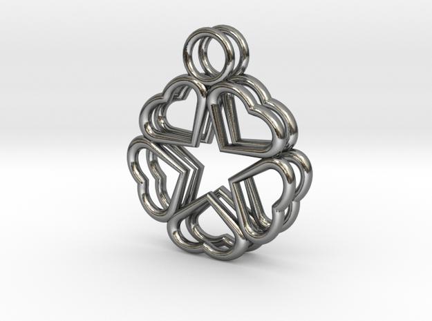 Hearts Hidden Pentacle Earrings in Polished Silver