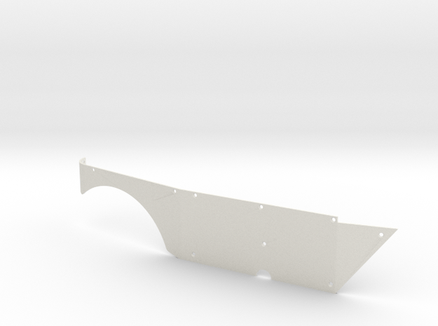 Right Side Panel (Type S) for Micro Shark in White Natural Versatile Plastic