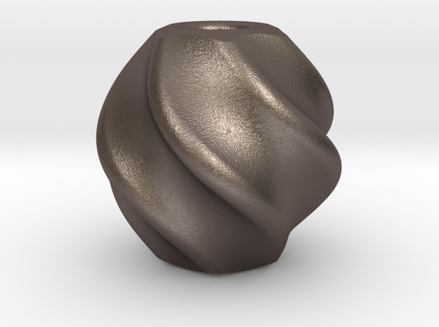 Vortex : Begleri Bead  in Polished Bronzed-Silver Steel