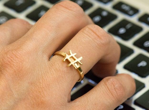 Minimalist Hashtag Ring Size 7 in Polished Bronze