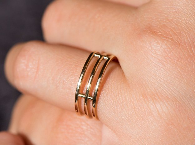 Minimalist Triple Band Ring Size 6 in Polished Bronze