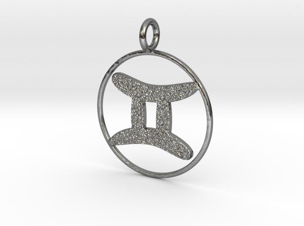 Gemini pendant  in Polished Silver