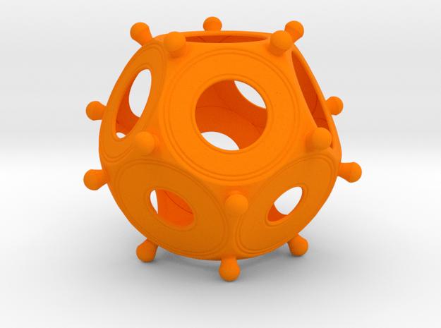 Roman Dodecahedron Colour 100 in Orange Processed Versatile Plastic
