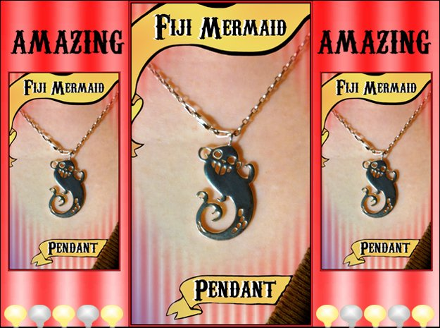 Fiji Mermaid Pendant in Polished Silver