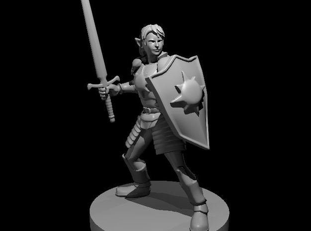 Female Elf Light Paladin with Sword and Shield in Smooth Fine Detail Plastic