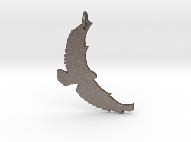 Flying Bird Pendant in Polished Bronzed-Silver Steel