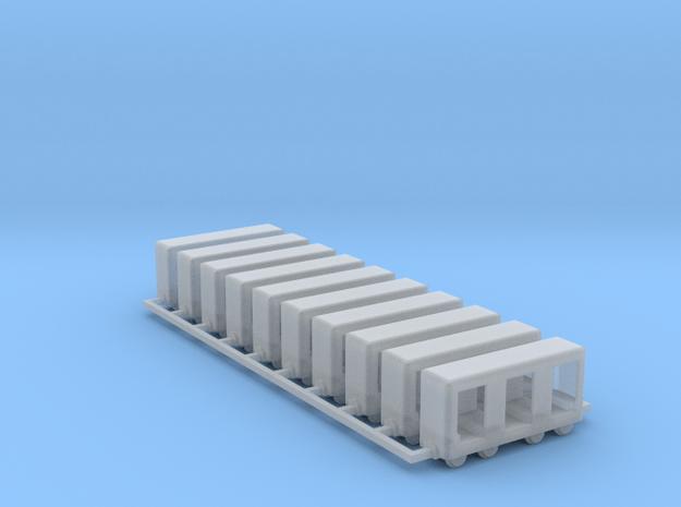 Grubenbahn Perseonenwagen V1 - 10erSet - Nf 1:160 in Smooth Fine Detail Plastic