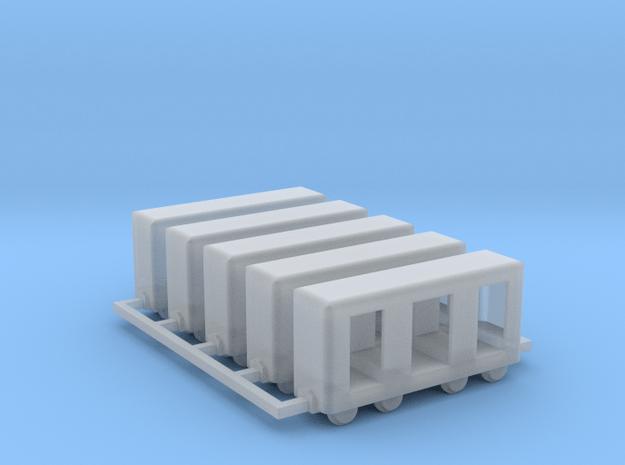 Grubenbahn Perseonenwagen V2 - 5erSet - Nf 1:160 in Smooth Fine Detail Plastic