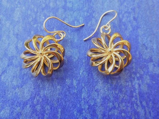 Rosette - Earrings in cast metals or steel in 18k Gold Plated Brass
