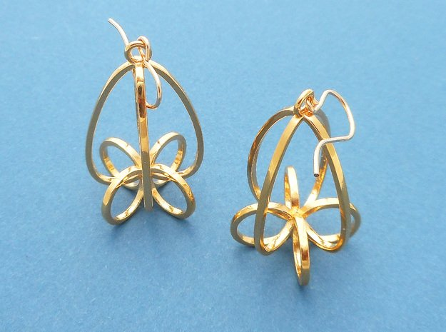 Finials - Pair of Earrings in Metal in 18k Gold Plated Brass