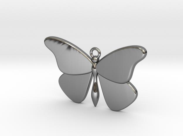 Single Butterfly Pendant (medium) in Fine Detail Polished Silver