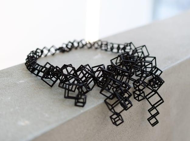 Large necklace made of interlocking cubes in Black Natural Versatile Plastic