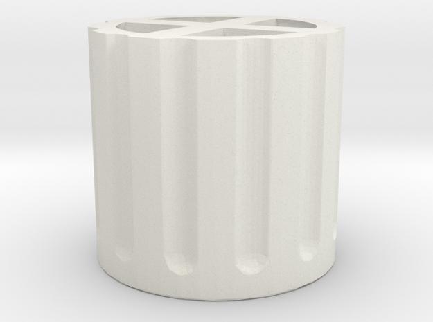 Schrader Valve Deflator Cap in White Natural Versatile Plastic