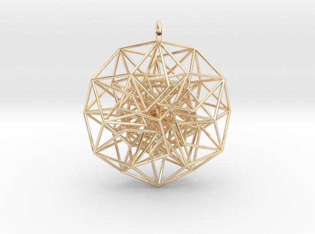 6D Cube Toroidal form - 50x1mm - 64 vertex pendant in 14k Gold Plated Brass