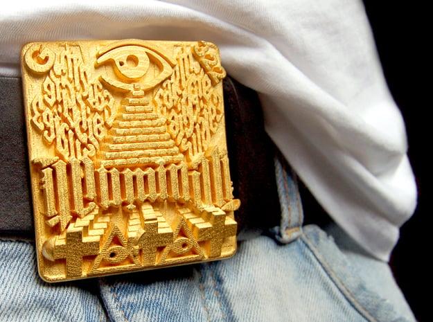 Illuminati Belt Buckle in Polished Gold Steel