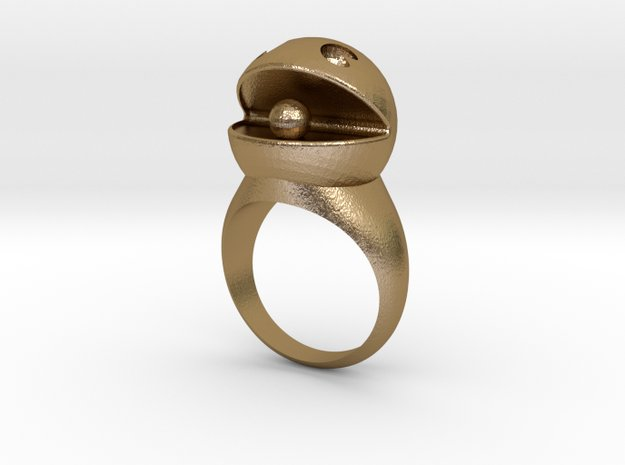 PacMan Ring in Polished Gold Steel