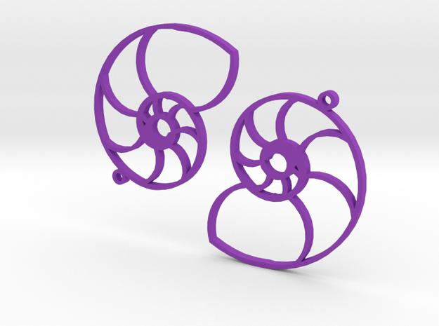Nautilus Earings in Purple Processed Versatile Plastic