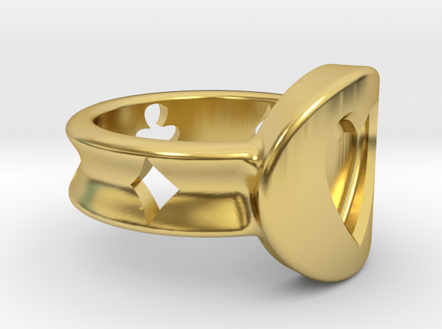 Ring (Hearts) for card players or entusiasths in Polished Brass: 1.5 / 40.5