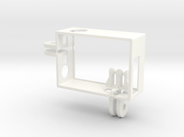 GoPro Hero3 frame with 2 connectors in White Processed Versatile Plastic