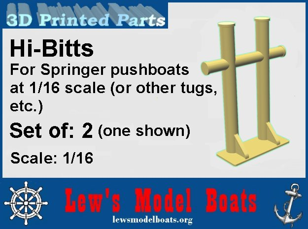 Springer pushboat H-Bitt Set of 2, scale: 1/16 in White Natural Versatile Plastic: 1:16