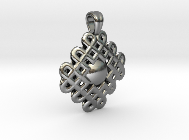 Encircled sphere [pendant] in Polished Silver