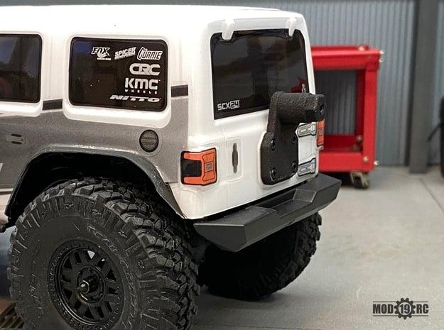 SCX24 Jeep JLU Rear Tire Carrier in Black Natural Versatile Plastic