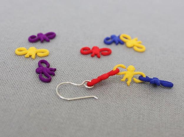 Monkey Earrings in Red Processed Versatile Plastic
