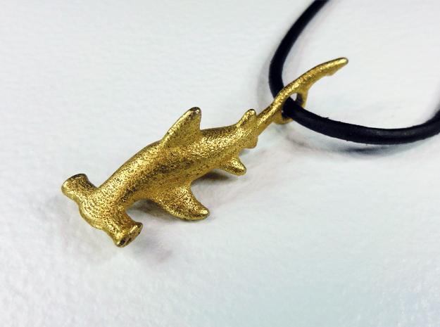 Hammerhead Shark Pendant in Polished Gold Steel