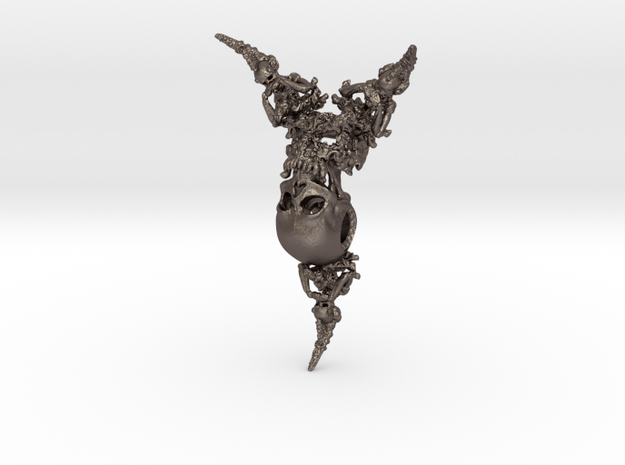 Skull Pendant | Devil Within in Polished Bronzed-Silver Steel