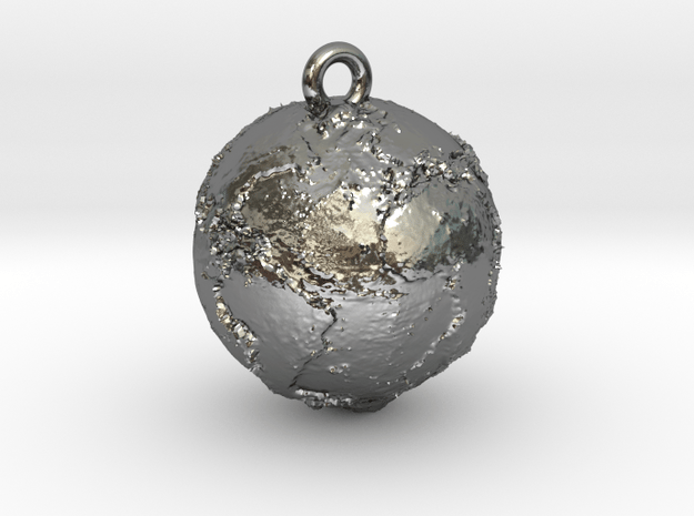 hanging earth in Polished Silver