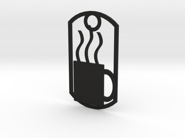 Coffee mug dog tag in Black Natural Versatile Plastic