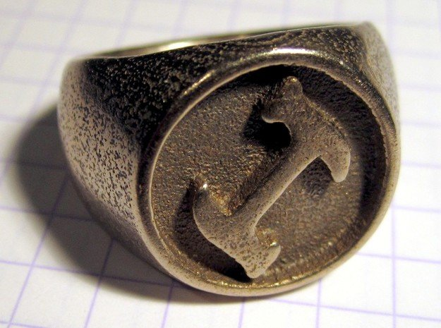Stonecutter Ring (size 14) in Polished Bronzed Silver Steel