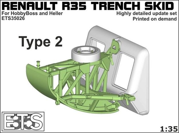 ETS35026 - Renault R35 Trench Skid #2 [1:35] in Smooth Fine Detail Plastic