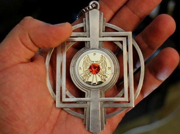 Deco Amulet. Center piece. in Polished Brass