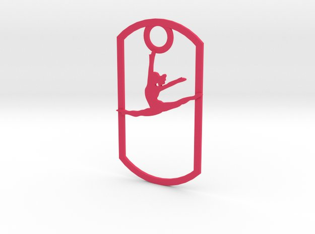 Leaping dancer dog tag in Pink Processed Versatile Plastic