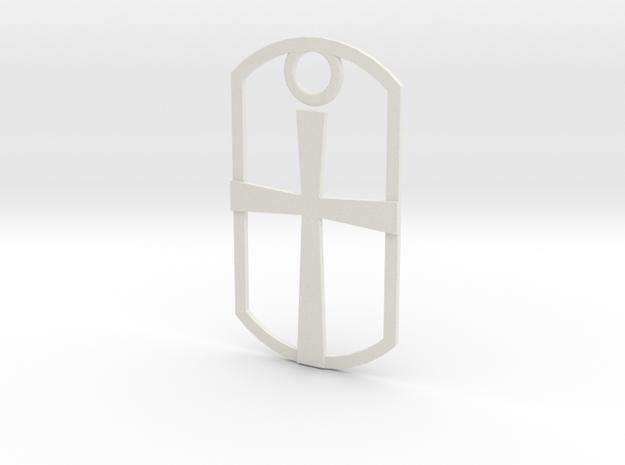 Dog tag - cross in White Natural Versatile Plastic