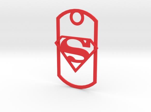 Superman dog tag in Red Processed Versatile Plastic
