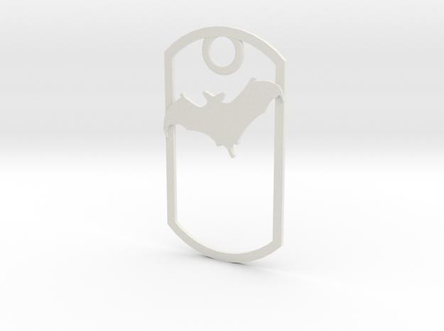 Bat awareness dog tag in White Natural Versatile Plastic