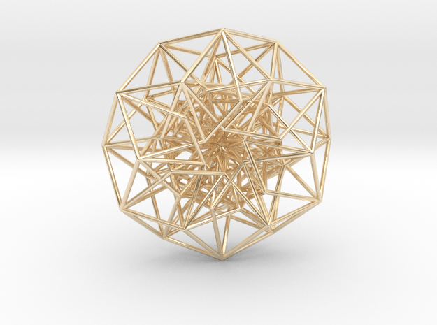 6D Cube in its Toroidal form - 50x1mm - 61 vertex  in 14k Gold Plated Brass