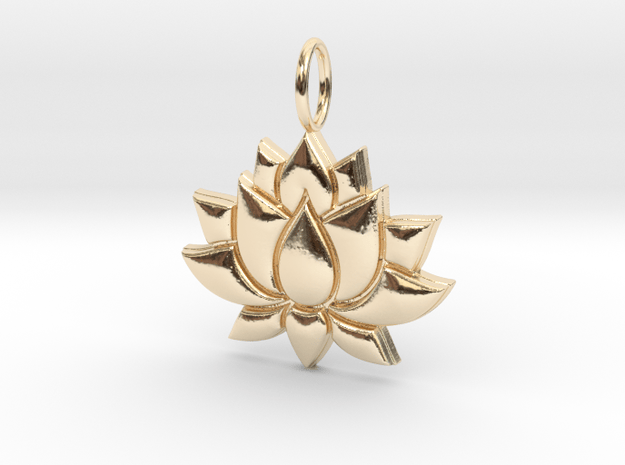 Lotus Flower Necklace in 14K Yellow Gold