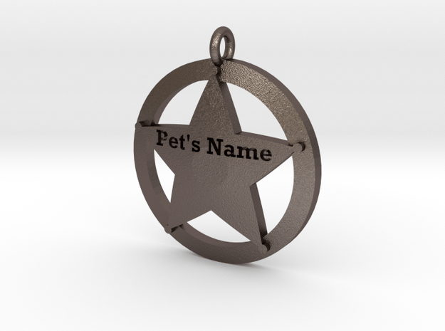 Revised 5 point sheriffs star pet tag in Polished Bronzed Silver Steel